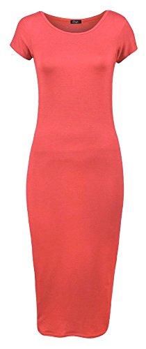 Forever Womens Plain Cap Sleeves Bodycon Midi Dress
