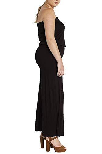Manche Grande Bustier Sans Ample Eté Jambes Large Casual Jumpsuit Combinaison One Col Bateau Piece Taille Femme Extra Simple Noir Pantalon Salopette x0wUqXg