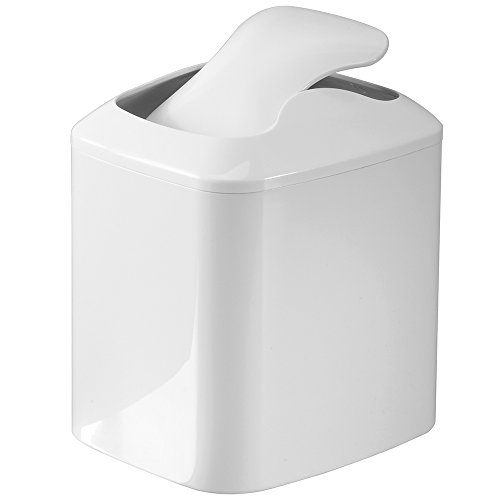 InterDesign Una Vanity Countertop Wastebasket Trash Can, White.