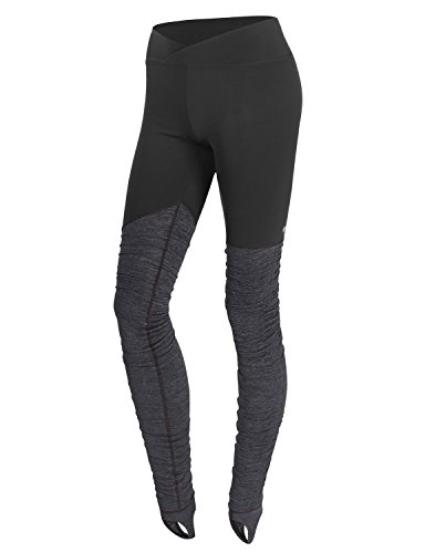 YOGARURU Women's Workout Ribbed Color-blocked Stirrup Yoga Pants Leggings , Black , Small