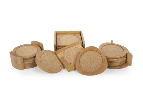 Lipper International 1036 Acacia Round with Cork Coasters and Caddy 7-Piece Set