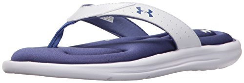 Under Armour Women's Marbella V Sandals, White/Deep Periwinkle, 8 B US