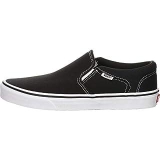 Vans Men's Slip On Trainers, Black Canvas Black White 187, 44.5