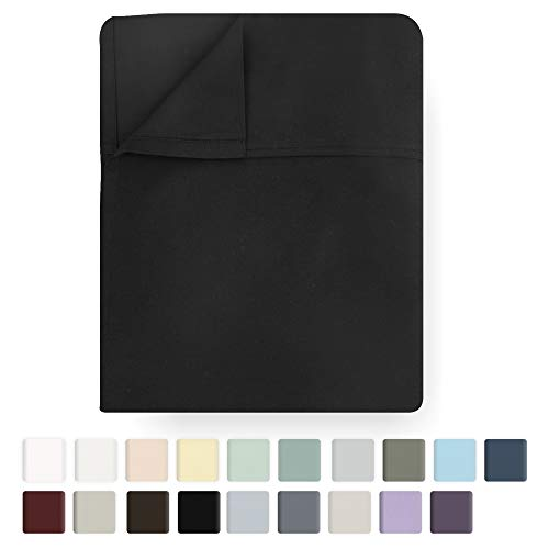Black Flat Sheet Only - King Size 400 Thread Count Luxury Soft 100% Cotton Sateen Weave Bedding - Best Hotel Quality All Season Top Flat Sheet for Bed, Lightweight and Breathable