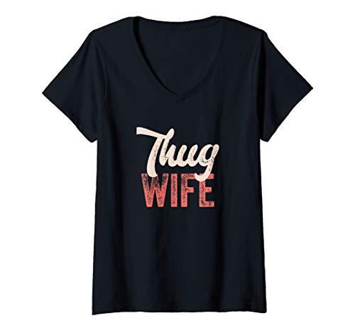 Womens Cute Wife Mom Gangsta Rap Shirt Thug Wife  V-Neck -