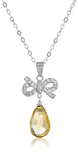 Sterling Silver Faceted Citrine and Cubic Zirconia Bow Teardrop Pendant Necklace, 18