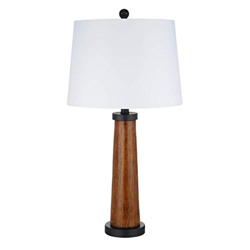 Stone & Beam Modern Farmhouse Wood Cylinder Table Desk Lamp With LED Light Bulb And White Shade- 14 x 14 x 27 Inches