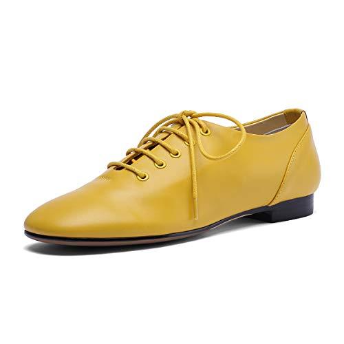 Comodos Cordones Annieshoe Ancho Amarillo Oxford Mujer De Tacon Zapatos Cuero Casual 7ttrYZP