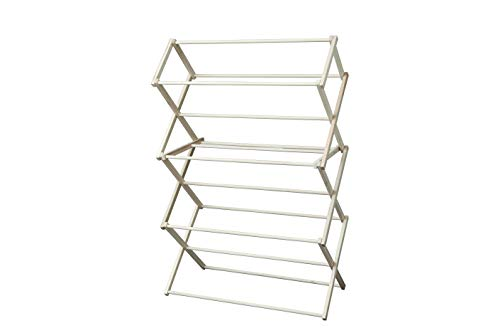 - Peaceful Classics Amish Craftsman Foldable Wooden Clothes Drying Rack, Handmade Collapsible Racks for Hanging Laundry, Wash Cloths, or Towels (Large)
