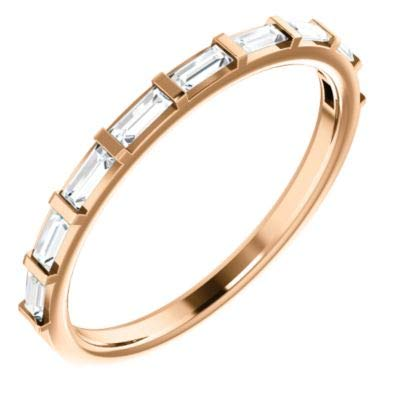 (14k Rose Gold 3x1.25mm Polished 0.25 Dwt Diamond Straight Baguette Anniversary Band Ring - Size 6.5)