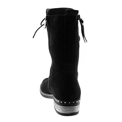 Stiefel Boots Schuhe High Combat Spitze Damen Stiefeletten cm Heel 4 Schwarz Biker Angkorly Reißverschluss Blockabsatz Strass XAtHwqy