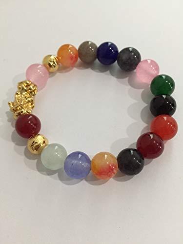 Lucky Cat Eye Stone Bracelet Feng Shui Handmade Gold Pi Yao or Pi Xiu for Wealth