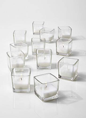 Serene Spaces Living 10-Hour White Unscented Cube Votive Candles in Set of 12 - Classic Clear Glass Design in 2