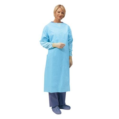 Cardinal Health 5210PG Premium Over-The-Head Gown with Thumbhooks, Universal, Polyethylene Film, Blue (Pack of 75)