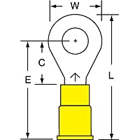 3M Scotchlok Yellow Brazed Vinyl Brazed Ring Terminal - 1.26 in Length - 0.53 in Wide - 0.135 in Inside Diameter - 1/4 in Stud - MV10-14R/SX [PRICE is per TERMINAL]