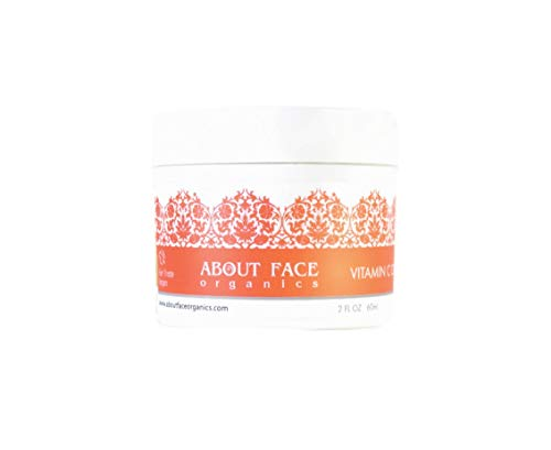 Vitamin C Cream Hyaluronic Acid, B3 and E by About Face Organics | Daily Vitamin C for Face | 84% Organic | Paraben & Cruelty Free, 2 Ounces