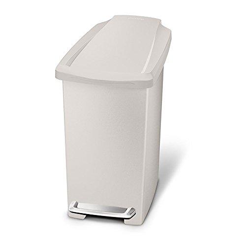 simplehuman 10 litre slim step can, stone plastic CW1383