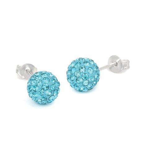 Surgical Stainless Steel Studs Earrings Cubic Zirconia Earrings Ball Stud Pave Ball, Blue Aqua Crystal Earrings Ball - 6mm Ball Hypoallergenic (Aqua Blue Earrings)