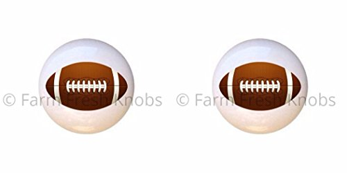 SET OF 2 KNOBS - Football - Sports and Recreation - DECORATIVE Glossy CERAMIC Cupboard Cabinet PULLS Dresser Drawer KNOBS
