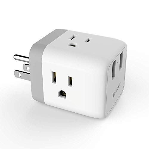 Multi Plug Outlet Extender with USB Ports, TECKIN Cruise Power Strip Charging Cube Splitter, Travel Cruise Ship Accessories Must Have No Surge Protector