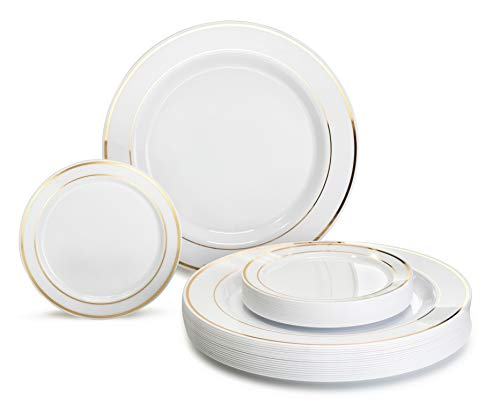 OCCASIONS 120 Plates Pack Heavyweight Premium Disposable Plastic plates, Bundle (60 x 10.5 Dinner + 60 x 6 Cake plates) White with Gold Rim