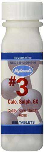 Hyland's Cell Salts #3 Calcarea Sulphurica 6X Tablets, Natural Homeopathic Relief of Colds, Sore Throat, Acne, 500 Count