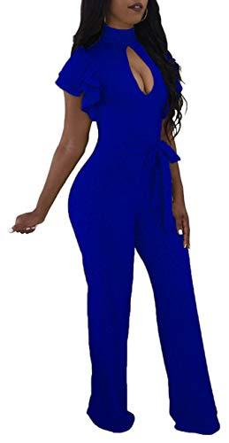 Women Casual Short Sleeve Jumpsuits Elegant Turtleneck Hollow Out Bandage Wide Leg Loose Comfy Long Pants Rompers Party Club Zipper Royal Blue