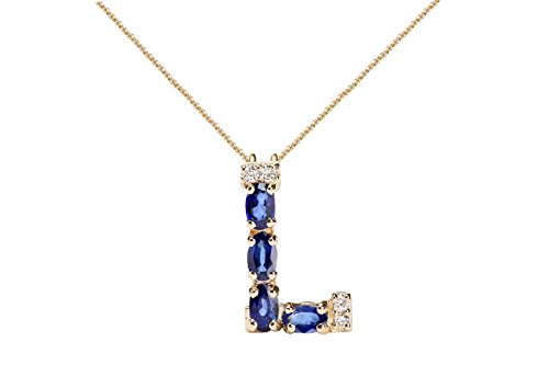 Albert Hern Blue Sapphire Necklace with Diamonds & 18K Gold Chain | Irresistible Sapphire Letter L Pendant Jewelry | Perfect Valentine's Day, Anniversary & Birthday Gift