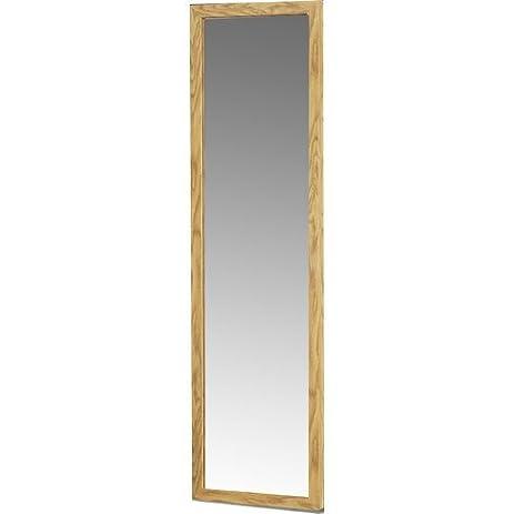 rectangle over the door full length mirror with wood frame in oak finish 48 - Wood Frame Full Length Mirror