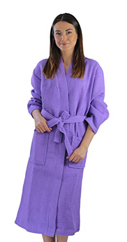 Bagno Milano Womens Waffle-Knit Bathrobe - Lightweight Spa Robe, Made in Turkey (Lilac, S-M)