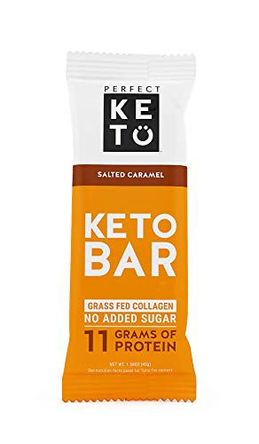 New! Perfect Keto Bar, Keto Snack (12 Count), No Added Sugar. 10g of Protein, Coconut Oil, and Collagen, with a Touch of Sea Salt and Stevia. (12 Bars, Salted Caramel)