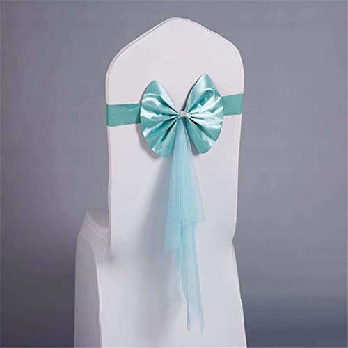 zhuluokeke Chair Sash Band with Bow Ties Elastic Spandex Cover for Wedding Chair Cover Bands for Wedding Decorations Tiffany Blue 50 PCS