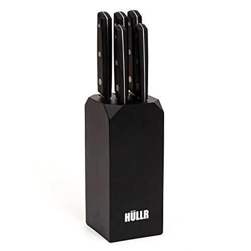 - HULLR 5-Piece Ultra Premium Stainless Steel Kitchen Knife Set with Black Handles, Medium Density Fiberboard (MDF) Block, Chef Knife, Slicing Knife, Bread Knife, Utility Knife, Paring Knife