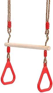 Jilin Barra de balanço em trapézio de madeira para adultos, para uso interno e externo, com anéis de plástico