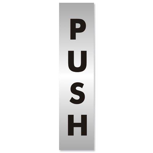 Stewart Superior Push Sign Brushed Aluminium Acrylic 190x45mm Ref Bac126