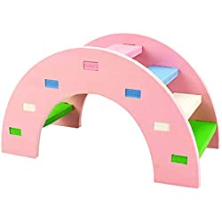 SUJING Rainbow Play Bridge,Wooden Ladder Bridge, Hamster Mouse Rat Rodents Toy Funny Hamster Toy (Pink, M:14x7x8cm)