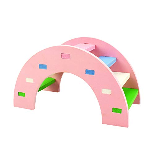 SUJING Rainbow Play Bridge,Wooden Ladder Bridge, Hamster Mouse Rat Rodents Toy Funny Hamster Toy (Pink, M:14x7x8cm) -