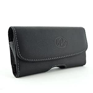 Black Horizontal Stylish Imitation Leather Cover Belt Clip Side Case Pouch For Nokia C6-00 C-6