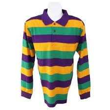 Mardi Gras Long Sleeve Polo Shirt (Pur/grn/gold) (Mardi Gras Products)