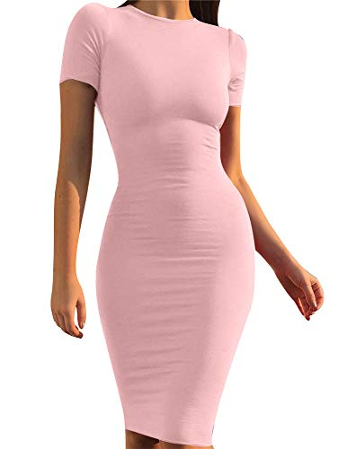 GOBLES Women's Short Sleeve Casual Bodycon Midi Elegant Cocktail Party Dress Pink