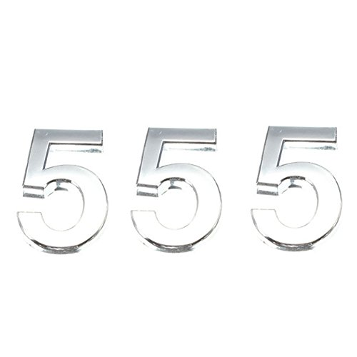 (GooGou House Number 5 Mailbox Number for Door,House,Mailbox,Hotel,Street Address Sign,Car Sticker 3 Pack Silver 2 Inch)