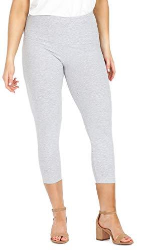 INTRO. Tummy Control High Waist Pull-On Capri Length Cotton \ Spandex Legging Light Grey Heather Size Petite Medium