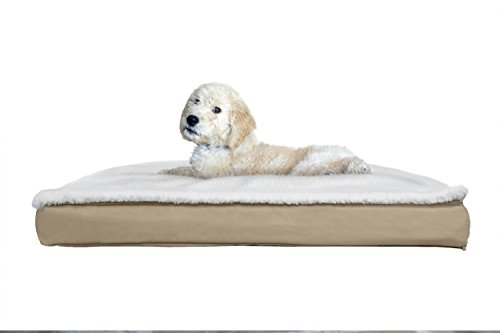 - FurHaven NAP Convertible Sherpa Panel Outdoor Pillow Pet Bed for Dogs and Cats, Sand, Medium