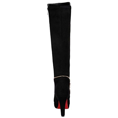 AIYOUMEI Damen Kneehohe Stiefel mit Plateau und Reißverschluss Winter Knee High Boots Schwarz