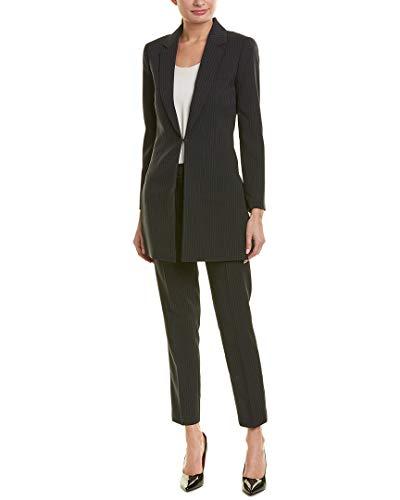 Tahari by ASL Women's Pinstripe Topper Jacket Pants Suit Black/Blue 4