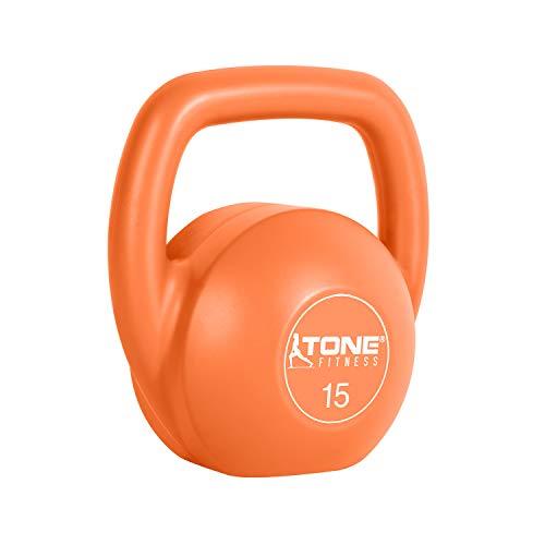 Tone Fitness Vinyl Kettlebell, 15-Pound, Orange by Tone Fitness (Image #2)