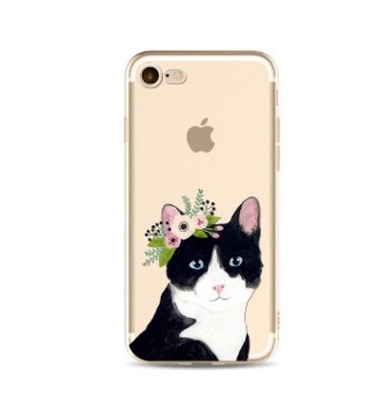 iPhone 8/iPhone 7 Case,Cool Animal Series Transparent Clear Soft TPU Protective iPhone 8/iPhone 7 Case by Fancy Case (Flower - Transparent Cat