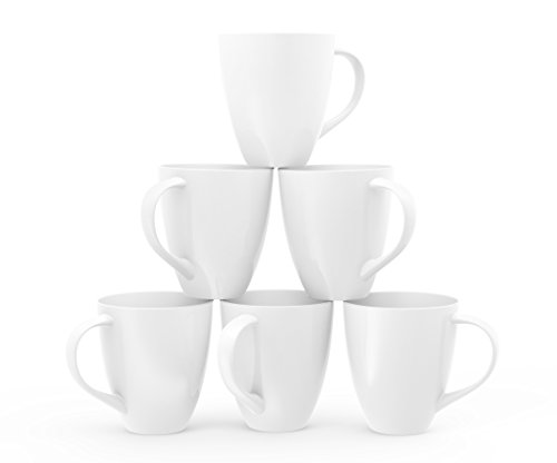 Francois et Mimi Large Ceramic Coffee Mugs, 16-Ounce, White, Set of 6