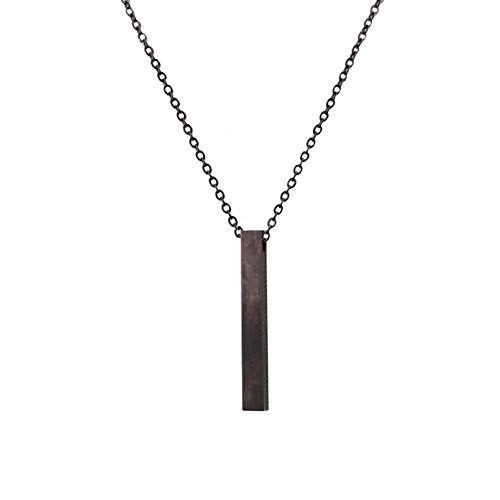 JczR.Y Vertical Bar Necklace Pendant Stainless Steel Long Stick Necklace Clavicle Chain Jewelry for Women Girls(Black Necklace)