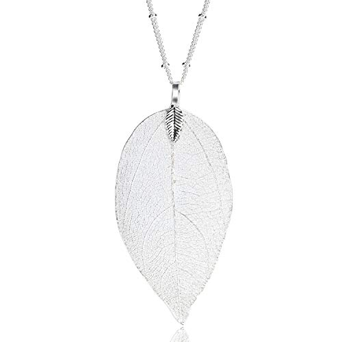 BOUTIQUELOVIN Women's Long Leaf Pendant Necklaces Real Filigree Autumn Leaf Fashion Jewelry Gifts (Silver)